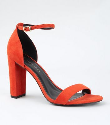 Wide Fit Orange Two Part Block Heels
