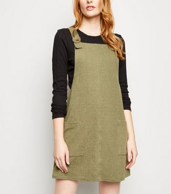Khaki Cross Hatch D-Ring Strap Pinafore Dress