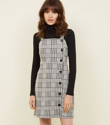 Black Houndstooth Button Side Pinafore Dress