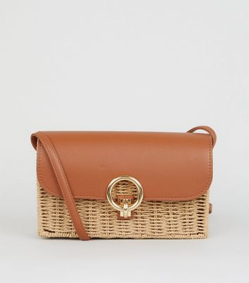 Tan Straw Effect Cross Body Bag