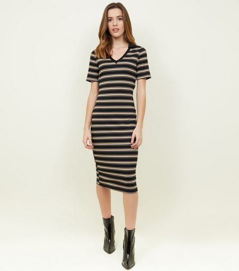 16b296231523 ... Black Stripe Polo Midi Dress ...