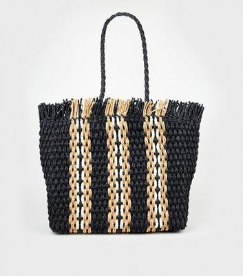 Black Stripe Woven Straw Effect Tote Bag