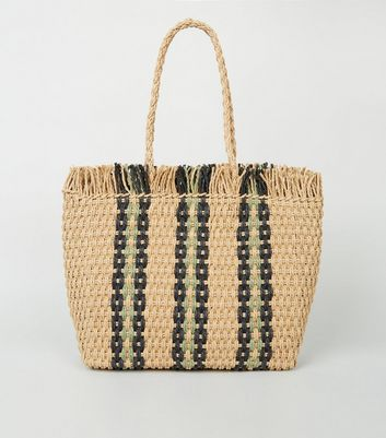 Navy Stripe Straw Effect Woven Tote Bag