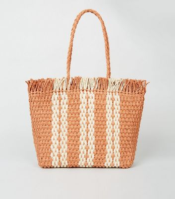 Bright Orange Stripe Woven Straw Effect Tote Bag
