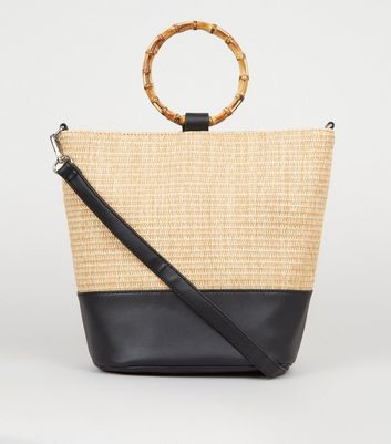 Stone Straw Effect Bamboo Handle Bag