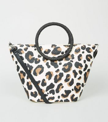 Brown Leopard Print Straw Effect Handle Bag