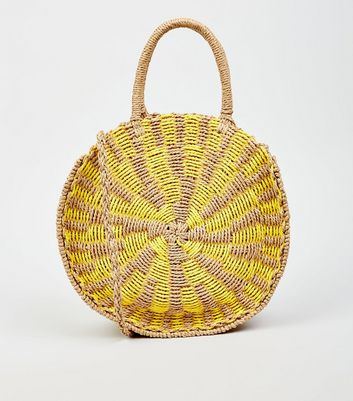 Yellow Round Straw Effect Woven Cross Body Bag