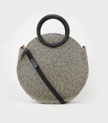 Black Woven Straw Effect Round Bag