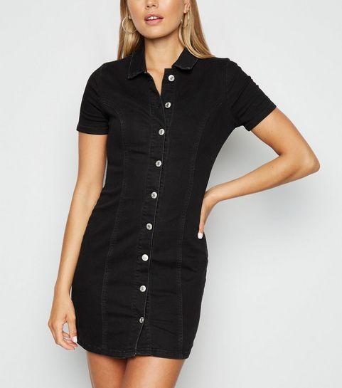f07e6113ec85 ... Black Button Front Denim Mini Dress ...