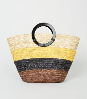 Brown Straw Stripe Ring Handle Tote Bag