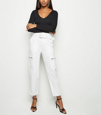 White Utility Belted Denim Trousers