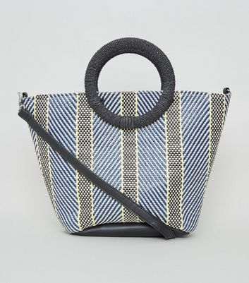 Blue Woven Ring Handle Tote Bag