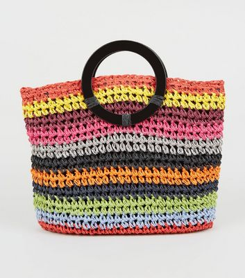 Multicoloured Woven Straw Effect Bag