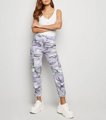 Lilac Camo Print Utility Trousers