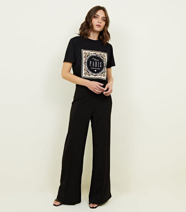 0904102e Black Paris Baroque and Chain Print T-Shirt | New Look