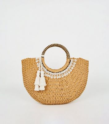 Stone Straw Effect Shell Trim Basket Bag