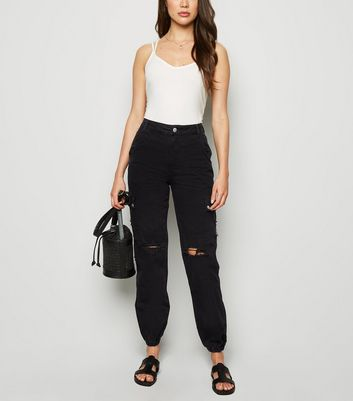 Black Ripped Cargo Jeans