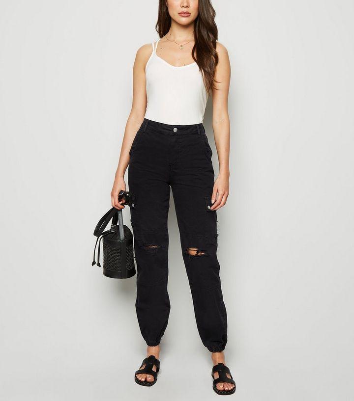 227bd6d9543 Black Ripped Utility Jeans