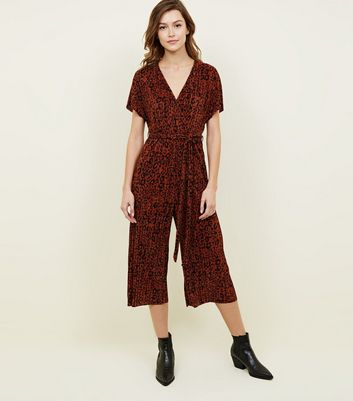 Orange Leopard Print Plissé Jumpsuit