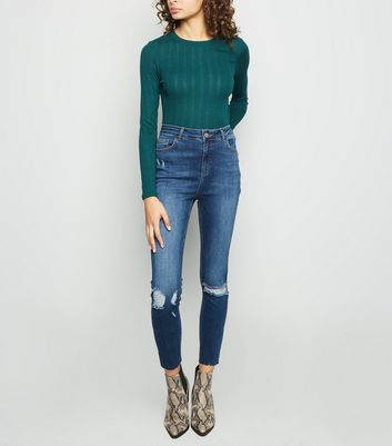 Tall Blue Ripped High Rise Skinny Jeans
