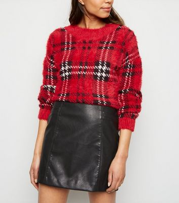 Black Leather-Look Mini Skirt