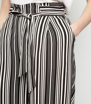 shop for Black Stripe Tie Waist Crop Trousers New Look at Shopo