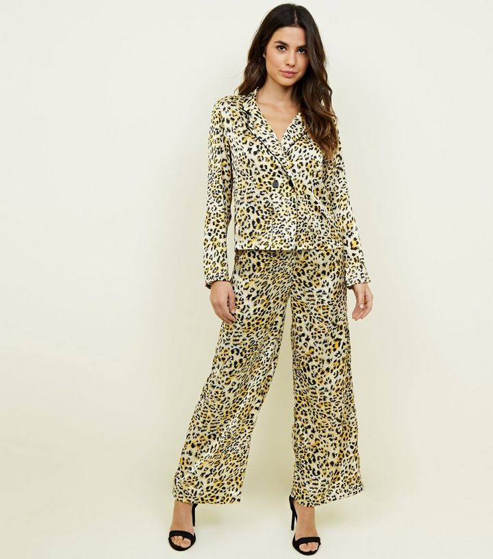 a6940f9fed5e Innocence Yellow Leopard Print Satin Trousers   New Look