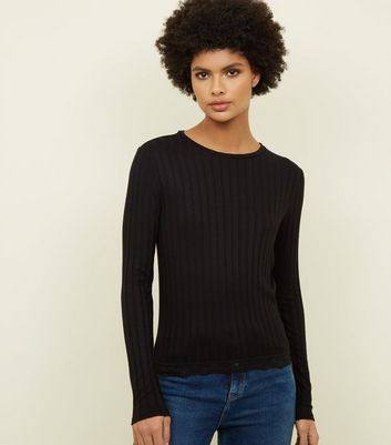 Black Ribbed Lace Hem Top