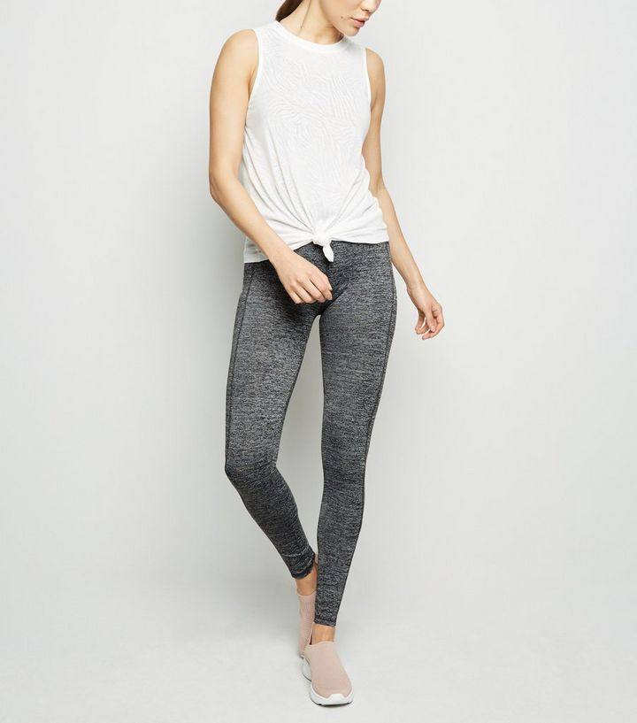65ffba7f090e20 Grey Marl Mesh Colour Block Sports Leggings