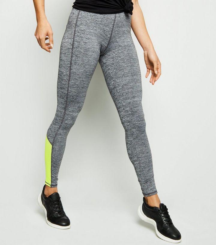 Light Grey Marl Mesh Colour Block Sports Leggings  42b2ca8277fc