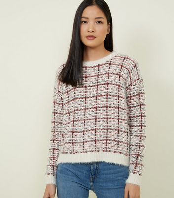 QED Red Check Fluffy Jumper