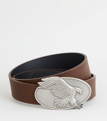 Dark Brown Eagle Plate Buckle Belt