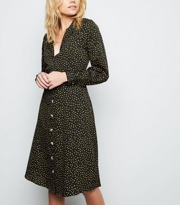 Black Spot Print Long Sleeve Shirt Dress