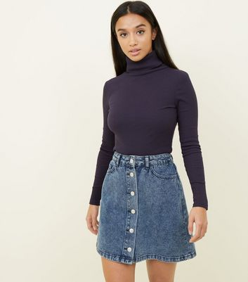 Petite Blue Acid Wash Button Front Denim Skirt