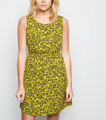 Yellow Ditsy Floral Shirred Waist Dress