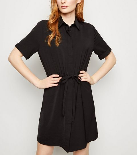 6c5e22f2fb1 ... Black Twill Drawstring Waist Shirt Dress ...