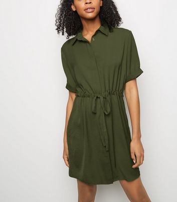 Khaki Twill Drawstring Waist Shirt Dress