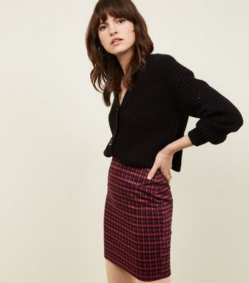 Bright Pink Houndstooth Check Tube Skirt
