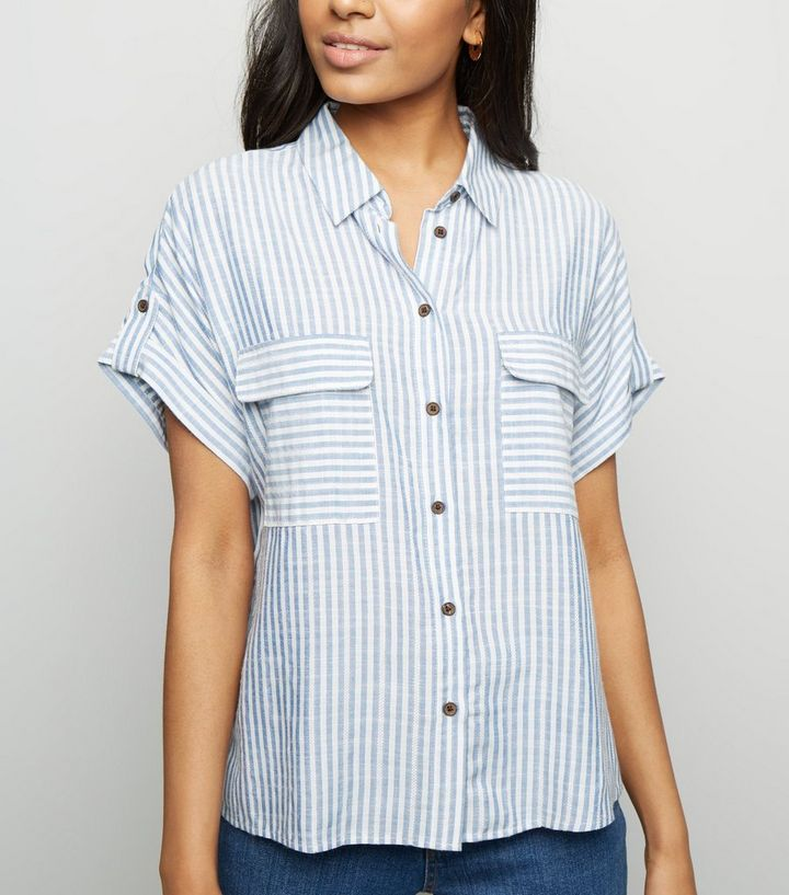 a49a9bd479c23a Petite Blue Stripe Textured Short Sleeve Shirt