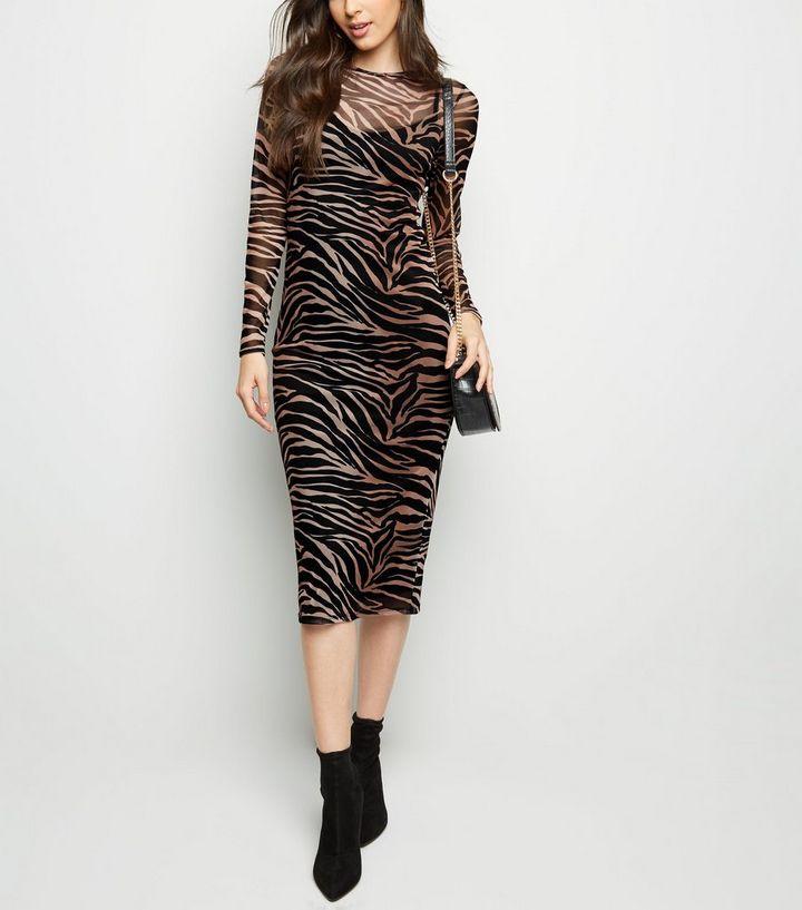 2bc2bf86ad Black Tiger Print Mesh Midi Dress
