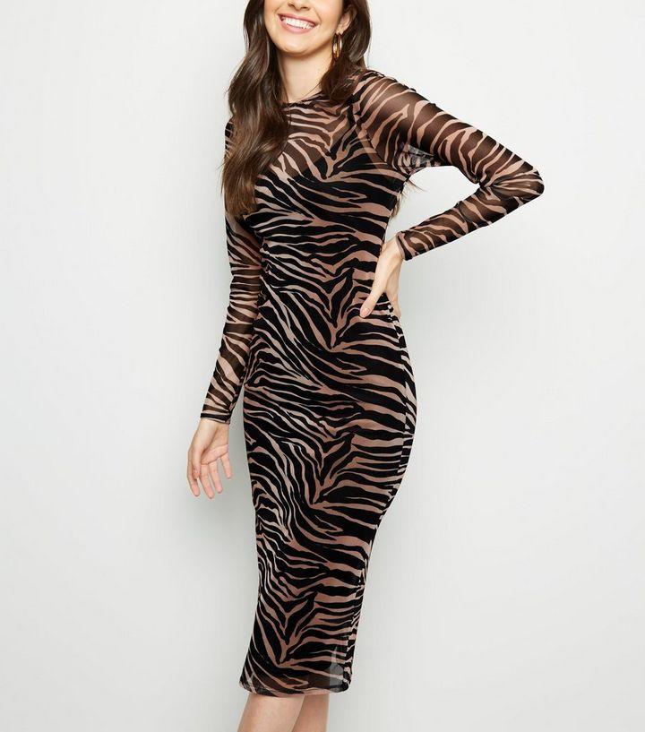 2ef9f433ac Black Tiger Print Mesh Midi Dress