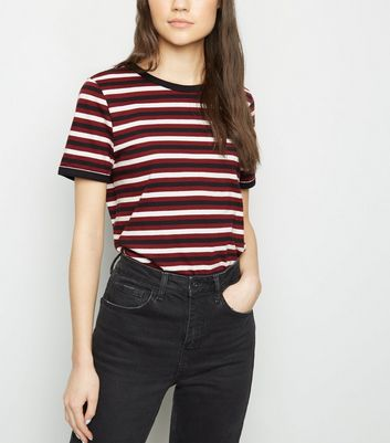 Red Multi Stripe Ringer T-Shirt