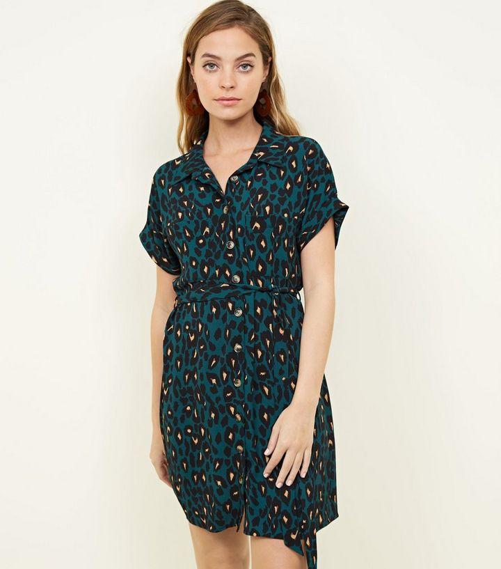 f356085154 Petite Green Leopard Print Mini Shirt Dress