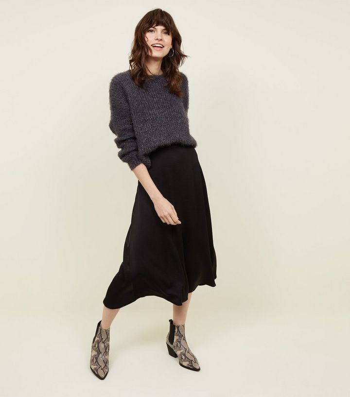 2d5aa79bba Black Satin Midi Skirt | New Look