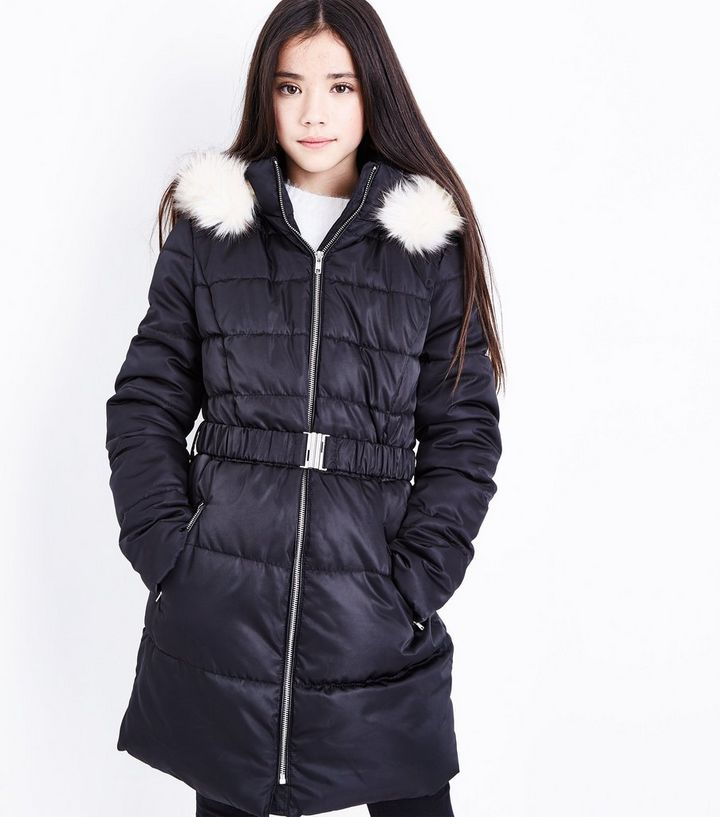 0bd85e828 Girls Black Longline Belted Puffer Jacket