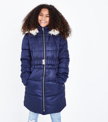 Girls Navy Longline Belted Puffer Jacket