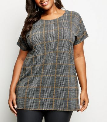 Curves Grey Check Fine Knit Tunic Top