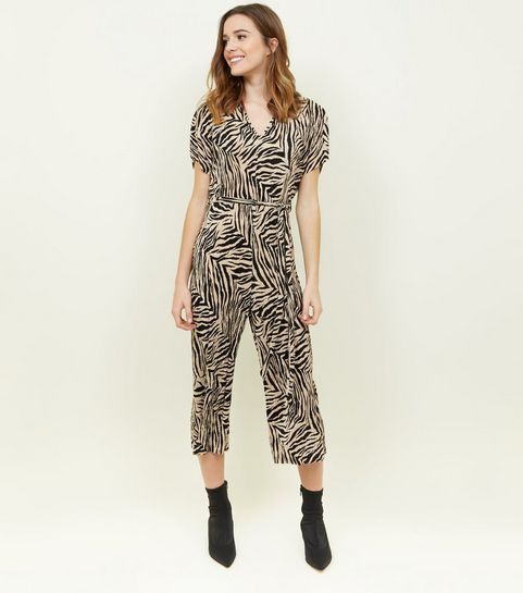 8ddafcb17fb5 ... Black Plissé Zebra Print Jumpsuit ...