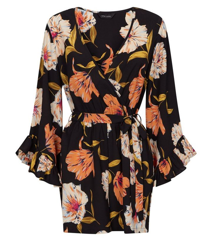 98013674191 ... Black Floral Ruffle Sleeve Wrap Playsuit. ×. ×. ×. Shop the look