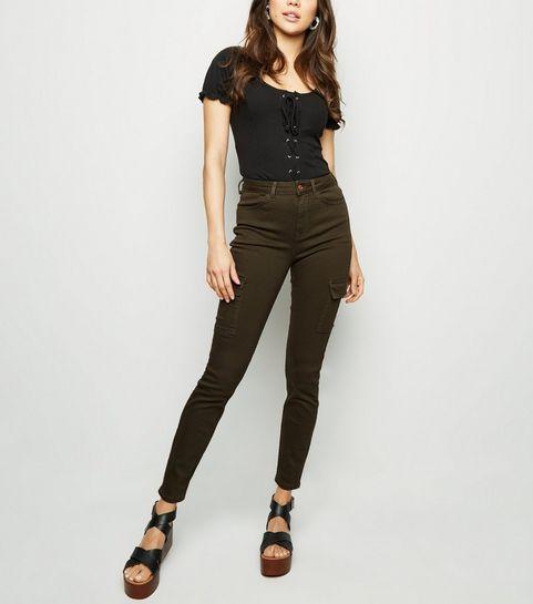 ... Khaki Utility Pocket Skinny Jenna Jeans ... d4b644eac